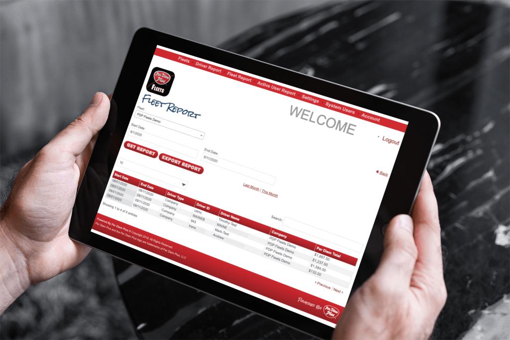 fleet per diem report in web services app
